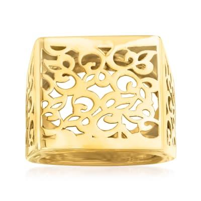 Italian 14kt Yellow Gold Filigree Square-Top Ring