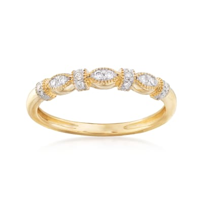 .12 ct. t.w. Vintage-Style Diamond Ring in 14kt Yellow Gold