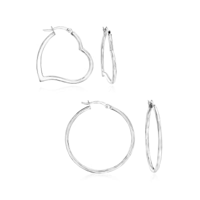 Sterling Silver Jewelry Set: Two Pairs of Hoop Earrings