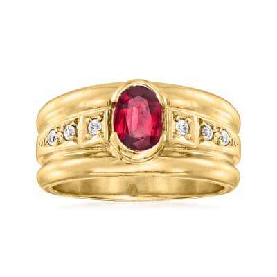 C. 1980 Vintage .90 Carat Ruby Ring with .10 ct. t.w. Diamonds in 18kt Yellow Gold