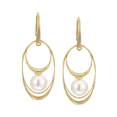 7.5-8mm Cultured Pearl Drop Earrings in 14kt Yellow Gold