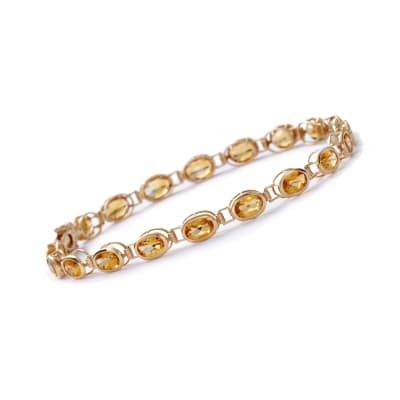 7.90 ct. t.w. Bezel-Set Citrine Bracelet in 14kt Yellow Gold