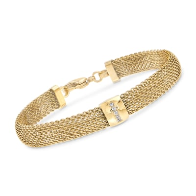 Gold-Plated Stainless Steel Mesh Bracelet with Crystals