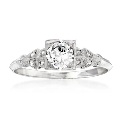 C. 1990 Vintage .58 ct. t.w. Diamond Ring in Platinum