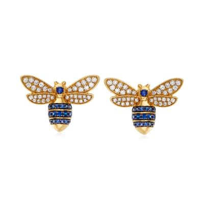 .94 ct. t.w. Diamond and .80 ct. t.w. Sapphire Bee Earrings in 14kt Yellow Gold