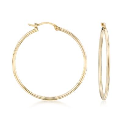 1.5mm 14kt Yellow Gold Large Hoop Earrings