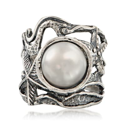 11mm Cultured Pearl Openwork Sea Life Ring in Sterling Silver
