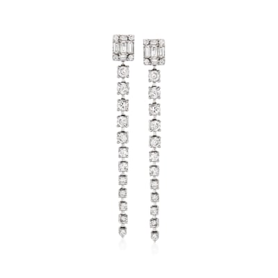 1.00 ct. t.w. Diamond Linear Drop Earrings in 14kt White Gold
