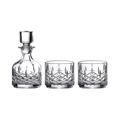 "Waterford Crystal ""Markham"" Stacking Set of Two Glasses and Decanter"