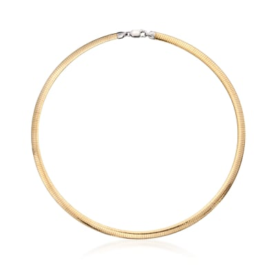 Italian 6mm Reversible Omega Necklace in Sterling Silver and 18kt Gold Over Sterling