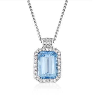 C. 1980 Vintage 16.50 Carat Swiss Blue Topaz and 1.10 ct. t.w. Diamond Pendant Necklace in 14kt White Gold