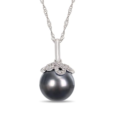 10-11mm Black Cultured Tahitian Pearl and Diamond-Accented Pendant Necklace in 14kt White Gold
