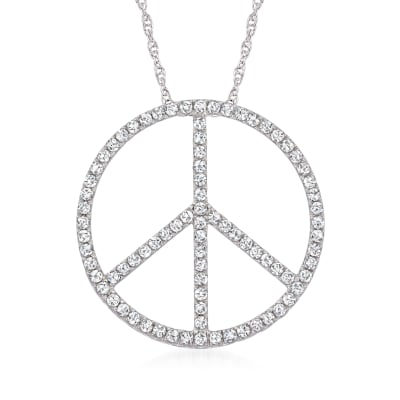 1.00 ct. t.w. Diamond Peace Sign Pendant Necklace in Sterling Silver