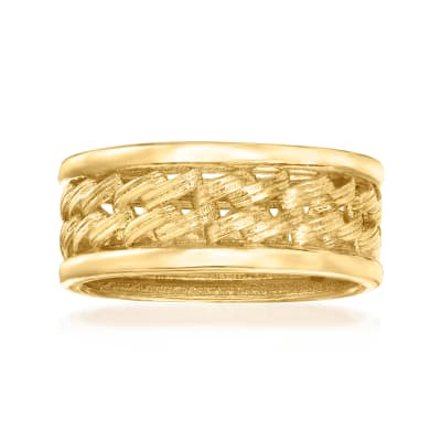 Italian 18kt Gold Over Sterling Link-Style Ring