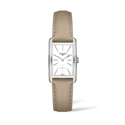 Longines Dolcevita Women's 23x37mm Stainless Steel Watch with Taupe Leather
