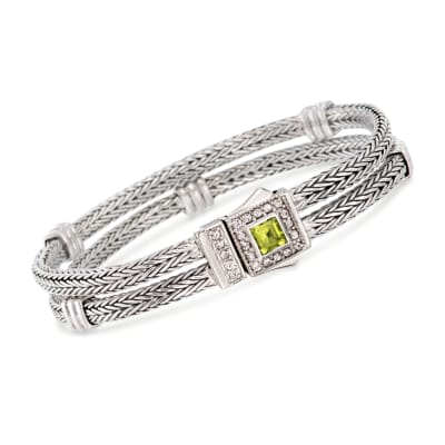 "Phillip Gavriel ""Woven"" .80 Carat Peridot and .50 ct. t.w. White Sapphire Station Link Bracelet in Sterling Silver"