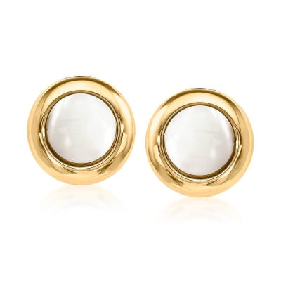 Mother-Of-Pearl Clip-On Earrings in 14kt Yellow Gold