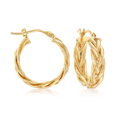 Italian Braided Hoop Earrings in 14kt Yellow Gold