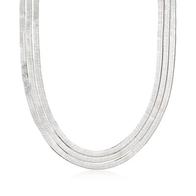 Italian Sterling Silver Layered Herringbone Necklace