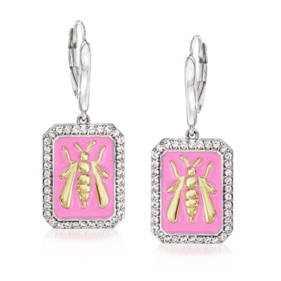 .70 ct. t.w. White Topaz and Pink Enamel Bee Drop Earrings in Sterling Silver and 18kt Gold Over Sterling