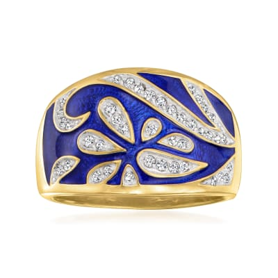 .25 ct. t.w. Diamond Floral Ring with Blue Enamel in 18kt Gold Over Sterling