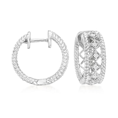 .15 ct. t.w. Diamond Open-Space Roped-Edge Hoop Earrings in Sterling Silver