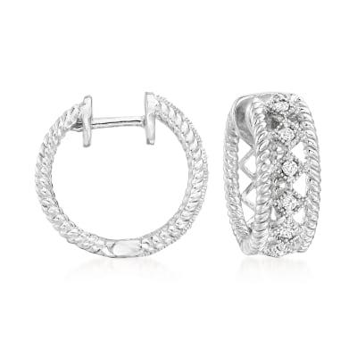 .15 ct. t.w. Diamond Open-Space Roped-Edge Hoop Earrings in Sterling Silver