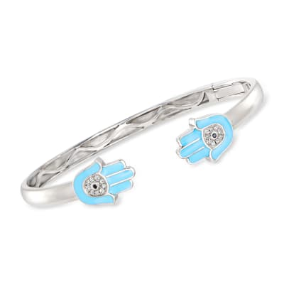 .10 ct. t.w. White Topaz Hamsa Hand Open-Space Bangle Bracelet in Sterling Silver with Blue Enamel and Black Spinel Accents