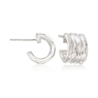 "Zina Sterling Silver ""Desert Wave"" Small Hoop Earrings"