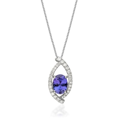 1.20 Carat Tanzanite and .27 ct. t.w. Diamond Pendant Necklace in 14kt White Gold