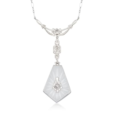 C. 1960 Vintage Rock Crystal Necklace with Diamond Accents in 14kt White Gold