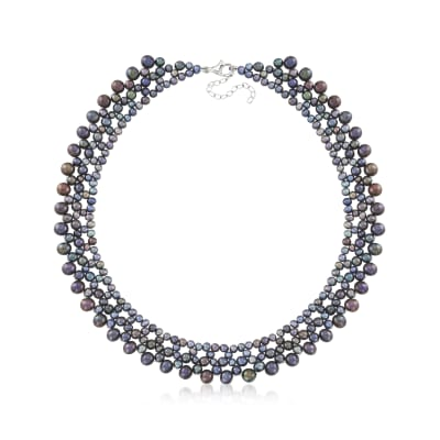 4-7mm Black Cultured Pearl Necklace with Sterling Silver
