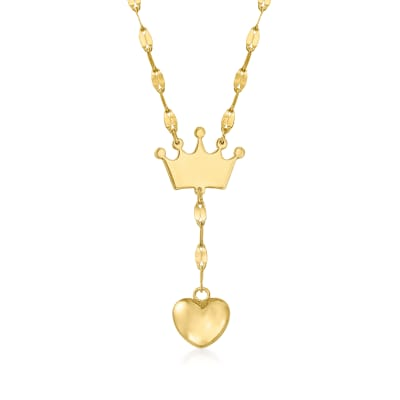 Baby's 14kt Yellow Gold Crown and Heart Drop Necklace