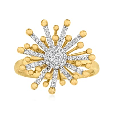 .26 ct. t.w. Diamond Starburst Ring in 18kt Gold Over Sterling