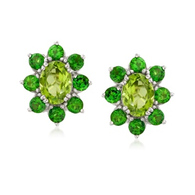 2.90 ct. t.w. Peridot and 2.00 ct. t.w. Chrome Diopside Halo Drop Earrings in Sterling Silver