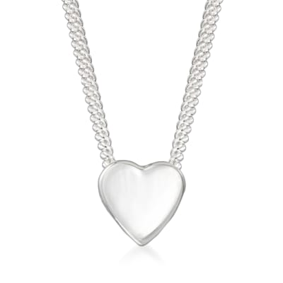 "Zina Sterling Silver ""Contemporary"" Mini Heart Necklace"