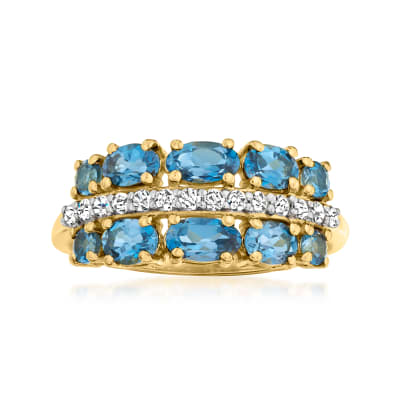 1.20 ct. t.w. London Blue Topaz Ring with .20 ct. t.w. Diamonds in 18kt Gold Over Sterling