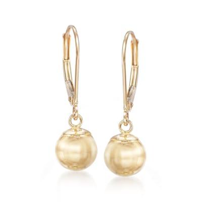 14kt Yellow Gold 10mm Bead Drop Earrings