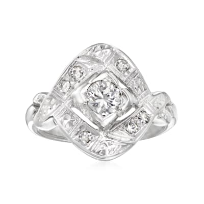 C. 1950 Vintage .47 ct. t.w. Diamond Ring in 14kt White Gold