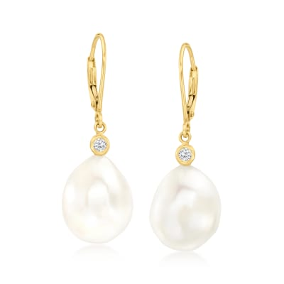 12-13mm Cultured Pearl and .10 ct. t.w. Diamond Drop Earrings in 14kt Yellow Gold