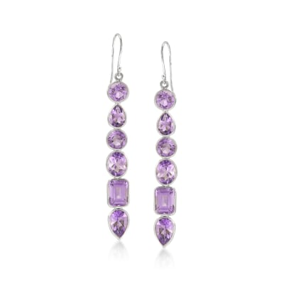 13.80 ct. t.w. Amethyst Drop Earrings in Sterling Silver