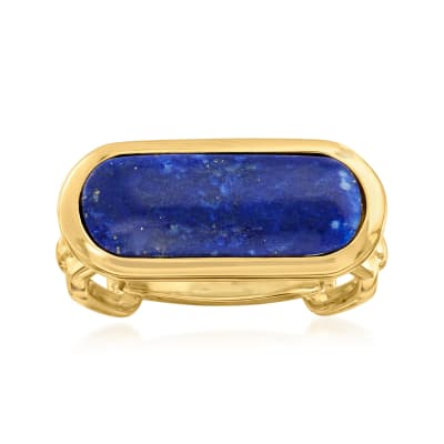 Lapis Chain-Link Ring in 18kt Gold Over Sterling
