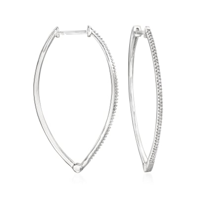 .25 ct. t.w. Diamond Marquise-Shaped Hoop Earrings in Sterling Silver
