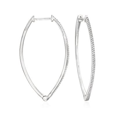 .25 ct. t.w. Diamond Marquise-Shaped Hoop Earrings in Sterling Silver
