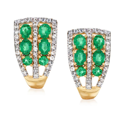 1.60 ct. t.w. Emerald and .70 ct. t.w. White Topaz Earrings in 18kt Gold Over Sterling