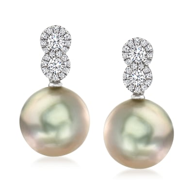 10-10.5mm Black Cultured Tahitian Pearl Drop Earrings with .33 ct. t.w. Diamonds in 14kt White Gold