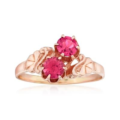 C. 1970 Vintage .50 ct. t.w. Rhodolite Garnet Swirl Ring in 10kt Rose Gold