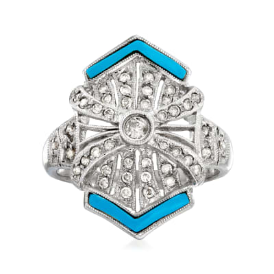 C. 1990 Vintage .40 ct. t.w. Diamond Ring with Blue Resin in 14kt White Gold