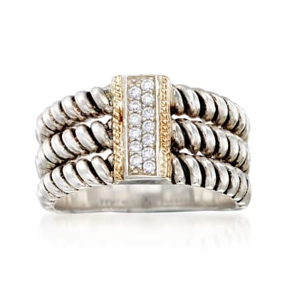 .10 ct. t.w. CZ Three-Row Ring in Sterling Silver and 14kt Yellow Gold
