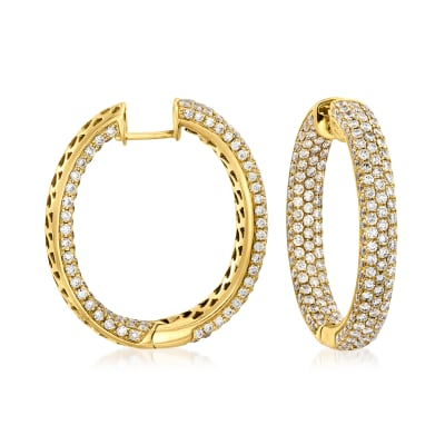 6.00 ct. t.w. Diamond Inside-Outside Hoop Earrings in 18kt Yellow Gold